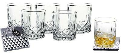 Lead-Free Crystal Double Old-Fashioned Highball Whiskey Glasses, Set of 6, Heavy