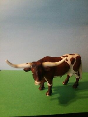 2001 Schleich Texas Longhorn Steer Cattle Cow Collectible Toy Figurine Props
