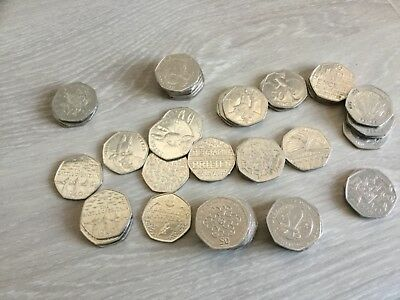 Rare & Valuable UK 50p Pence Coins Circulated Beatrix Potter , Olympics , WWF