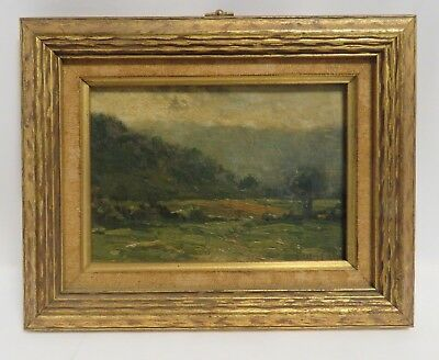 Antique Signed E. Loyal Field Oil Landscape Painting on Art Board.