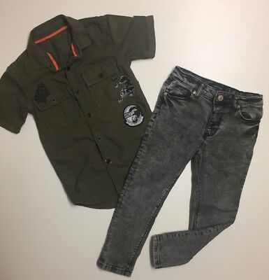 River Island Bundle Outfit Badge Khaki Shirt And Grey Skinny Stretch Jeans Age 5