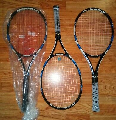 1 strung 2015 BABOLAT PURE DRIVE TOUR TENNIS RACQUETS 4 and 3/8 grip used few ti