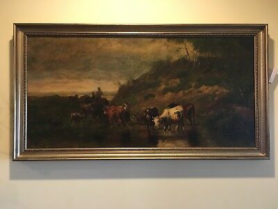 Antique 1884 Large Fine British Landscape Oil Painting Signed E.m.p. London