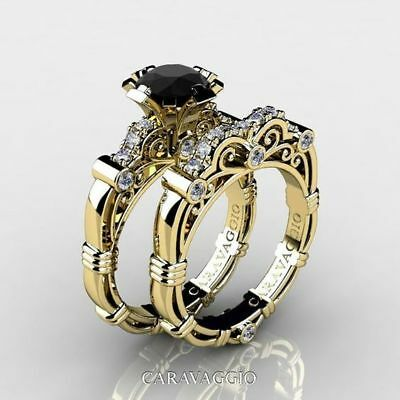 Fashion 18K Yellow Gold Plated Black Obsidian Ring Set Women Wedding Size9 Hot