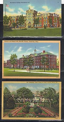 LJL Stamps: 3 US College Post Card, Providence, Radcliffe, Junior from 1940-50s