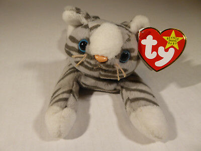 TY Beanie Babies Prance Gray Striped Tabby Cat (1997) w  All Tags Excellent 4d65903826b8