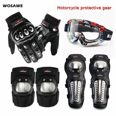 Armor Motorcycle Goggles Gloves Knee Elbow Pads Body Protective Gear Guards Bike