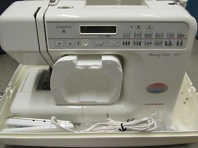 "WOW! Janome ""Memory Craft 3000"" Computerized Sewing Machine, Foot Pedal & Manual"