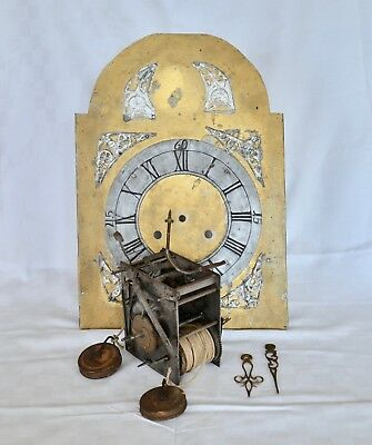 Early Long Case Grandfather Clock Dial and Movement for Restoration Antique