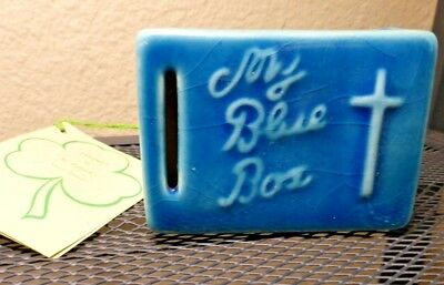 Vintage MY BLUE BOX Glazed Ceramic Pottery Bank Church St Patrick's Somerset KY