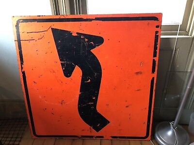 Real Reverse Curve Right Street Traffic Orange Reflective Wood Real Used Sign
