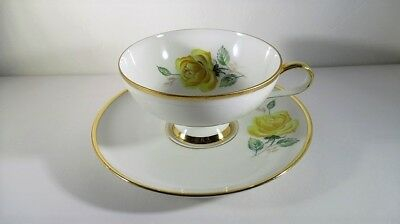 Vtg 1920's-30's Gloria Porcelain Footed Teacup and Saucer Yellow Roses Germany