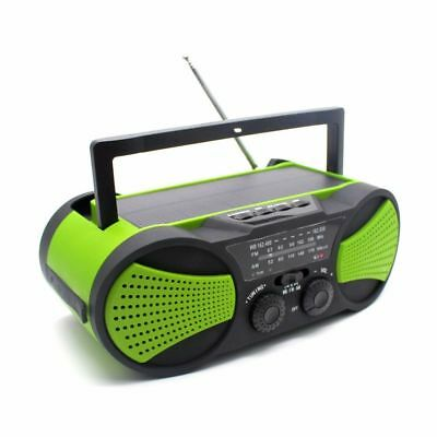 Weather Radio AM/FM/NOAA, Solar Powered, Hand Crank & Battery, USB, Flashlight