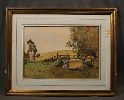 19th Century Landscape signed Paul Emile Lecomte,  Watercolor on Paper (French)