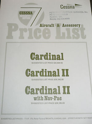 Cessna 177 Cardinal Price List - Standard & Optional Equipment Instruments