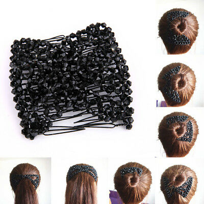 Stretchy Magic Easy Comb Hair Clips Beads Double Clips Slide