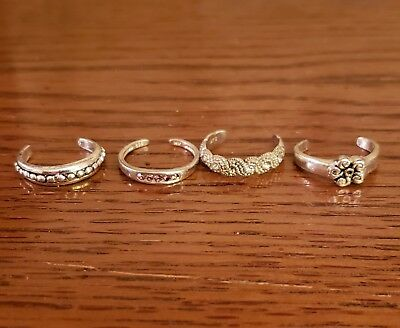 VTG Sterling Silver - Lot of 4 Assorted Solid Toe Rings