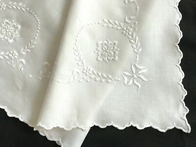 VINTAGE 1920s-30s LINEN PILLOW SHAM, SCALLOPS, MACHINE EMBROID WHITE-ON-WHITE