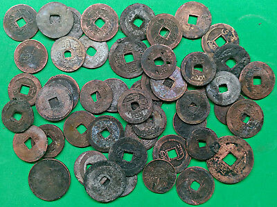 "Lot of 49 Mixed Old ""Cash"" Coins China Fire Damaged Culls  !!"