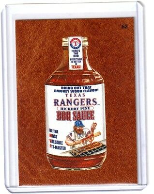 """2016 Wacky Packages Baseball Series 1 """"TEXAS RANGERS BBQ SAUCE"""" #52 LEATHER CARD"""