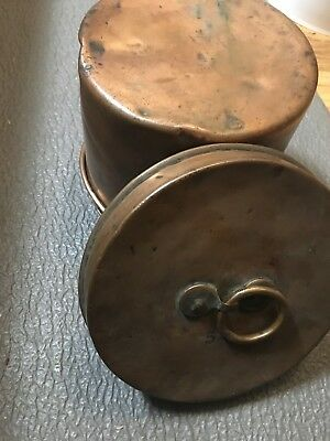 "Vintage copper ""5P"" Kettle / Lidded Bucket Pot Rustic Antique Penny Pail"