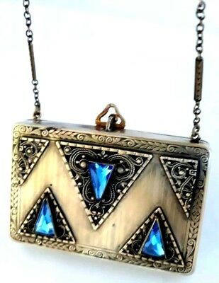 Antique Gorgeous Blue Jeweled Vanity Compact & Coins Dance Purse. SEE!