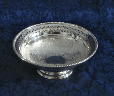 """Vintage Barker Ellis Silver Plate Footed Reticulated Bowl 6 3/8"""" Compote England"""