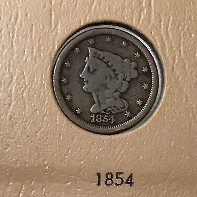 Rare 1854 Coronet (Braided) Half Cent.  Low Mintage of just under 56K.