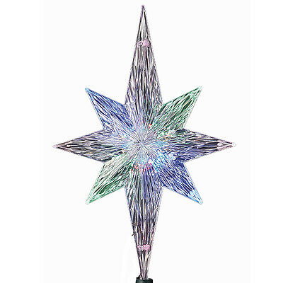KURT ADLER POLAR STAR TREE TOPPER w/LED COLOR CHANGING LIGHT XMAS DECORATION