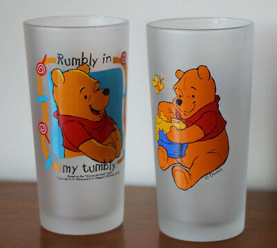 Disney Winnie The Pooh : Large Frosted Glass Set of 2 15.5cm Rumbly in my tumbly