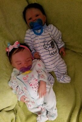 Reduced price! Lot of 2 Reborn baby dolls from BB /GHSP, soft body, brown mohair