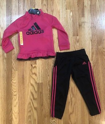 3fa4c7e9e045 Adidas Little Girl Pink and Black and 3 Stripe Jogger TrackSuit Size 5 NWT