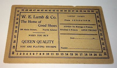 Rare Antique American Advertising Trump Game Card, W. E. Lamb Shoes! C.1900! US!