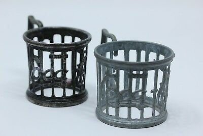 Two Vintage 1985 Coca Cola Pewter Cup Holders ~ No Glasses, Just Holders