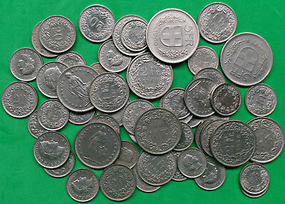 Face Value Lot of CHF 36 Swiss Francs Coins Spendable Exchange Collect !!