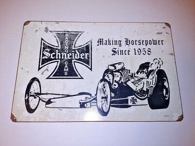Schneider Racing Cams Dragster Sign Vintage Drag Racing NHRA Garage Hot Rod