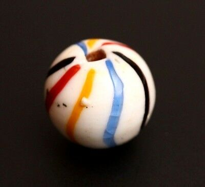 Antique Hand Crafted German Glass Marble Bead ~ Rainbow Swirled Not Opaque
