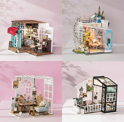 ROBOTIME DIY Dollhouse Miniature Handcrafts with LED Furniture Gift for Women