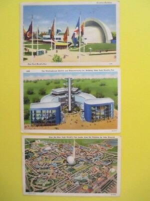 Vintage Postcards Of New York Worlds Fair 1939, Group Of Three