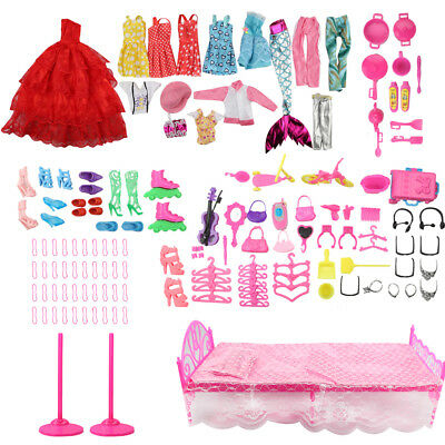 110 Pcs Barbie Doll Clothes Party Gown Outfits Shoes Bags Necklace Toy Accessory