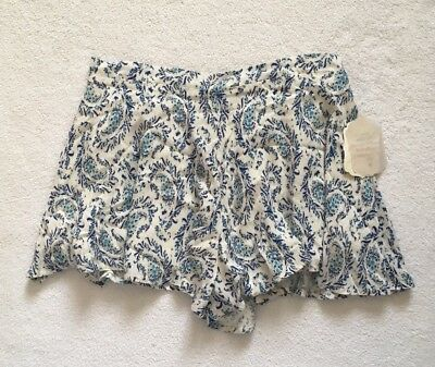 NWT Altar'd State Women Blue Ivory Flowy Floral Print Elastic Waist Shorts M .