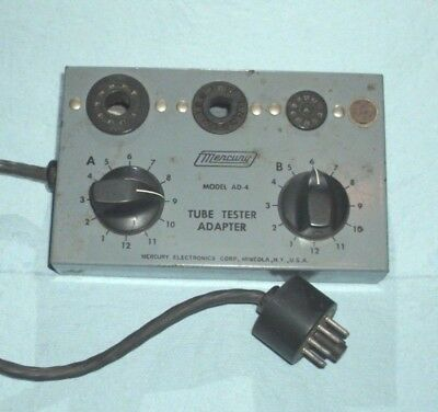 """One original Mercury tube tester adaptor """" AD-4 for compactrons, 9 pin, nuvistor"""
