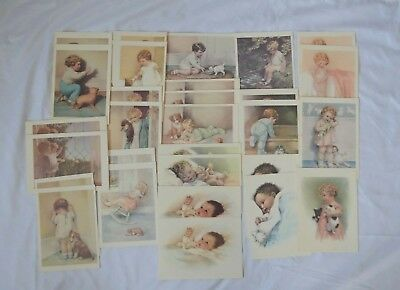 Lot of 29 Vintage Bessie P Gutmann Cards Unused Litho in USA Kids Babies Puppies