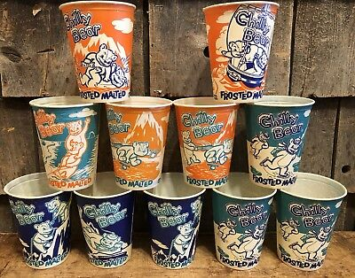 Lot Of 11 Vintage CHILLY BEAR Frosted Malted Dixie Waxed Paper Cups POLAR BRAND