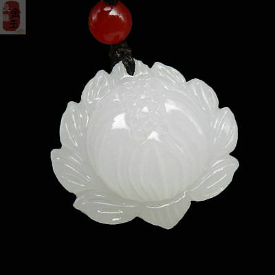 Natural Chinese white jade hand carved lotus lucky pendant beautiful