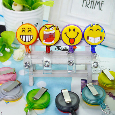 Emoji Face Retractable Badge Reel Exhibition Pull Key ID Name Card Badge Holder