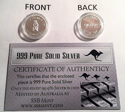 """""""Silver Grizzly Bear"""" 1/10th OZ 99.9% Solid Silver Bullion Coin with C.O.A."""