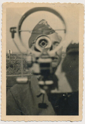 GERMAN SOLDIER LOOKING thru GUN SCOPE ? vtg ABSTRACT FACE OBSTRUCTION photo
