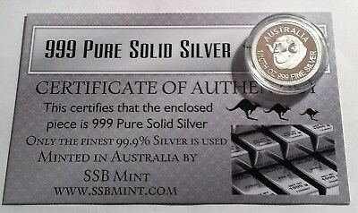 """""""AUSTRALIAN MERINO"""" 1/10th OZ 999.0 Pure Solid Silver Coin with C.O.A. Invest."""