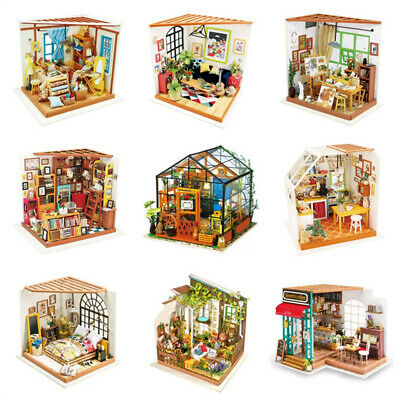 ROBOTIME DIY Wooden  Dollhouse Miniature House with LED Light Furniture Toy Kids